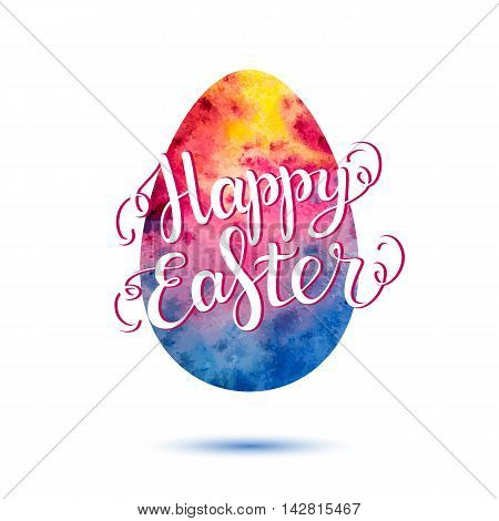 Easter lettering. Easter card. Happy easter text. Easter background. Watercolor easter egg. Easter holiday for invitation and card. Vector illustration. Hand drawn lettering.
