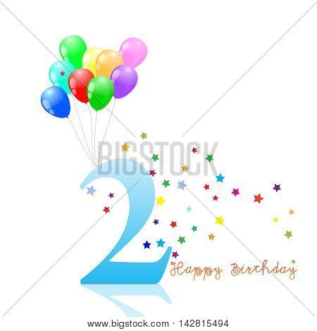Anniversary second birthday signs collection. Anniversary, birthday emblem with ballons.