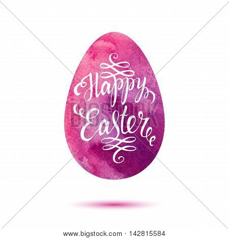 Easter lettering on pink watercolor egg. Easter card. Happy easter text. Easter background. Watercolor easter egg. Easter holiday for invitation and card. Vector illustration. Hand drawn lettering.