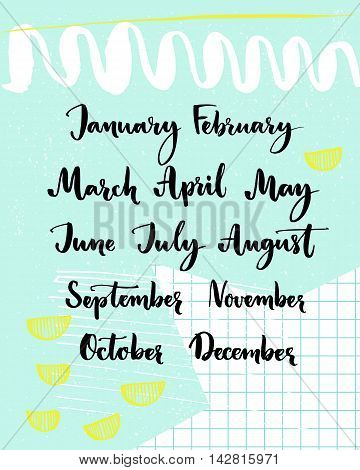 Handwritten months of the year: December, January, February, March, April, May, June, July, August September October November Calligraphy words for calendars and planners