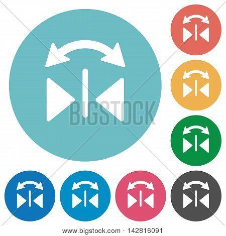 Flat horizontal flip icon set on round color background.