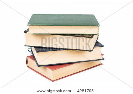 Stack of books with white background high quality and high resolution studio shoot