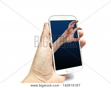 Hand Holding Smart Phone With Grabbing Hand Coming Out Of Screen