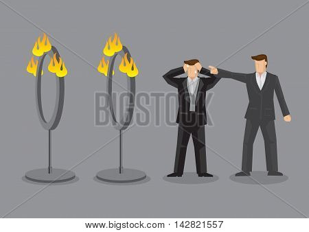 Employer demand stressed employee to go through fire rings. Vector cartoon illustration on unreasonable boss and impossible mission concept.