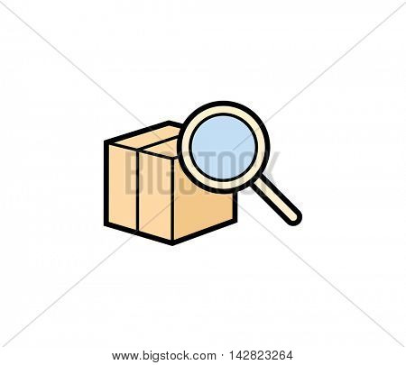 Find parcel delivery icon. Vector illustration of parcel box