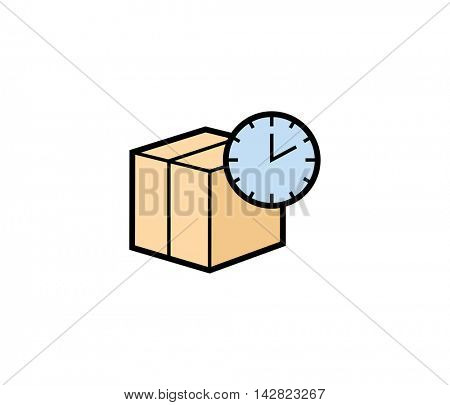 Express parcel delivery icon. Vector illustration of parcel box