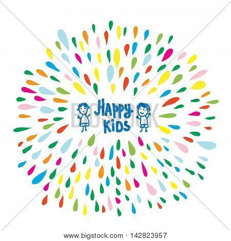 Happy kids logo or card for preschool or kindergarten funny vector illustration