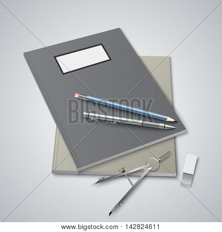 Back to School with workbooks template vector eps 10