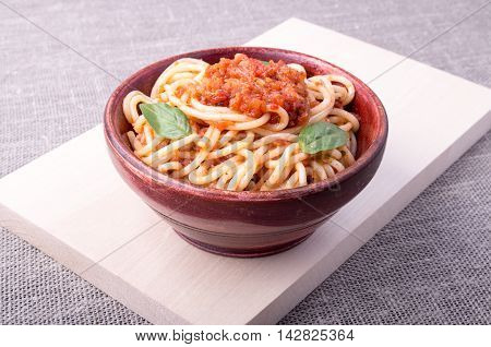 Cooked Spaghetti Closeup On A Wooden Stand