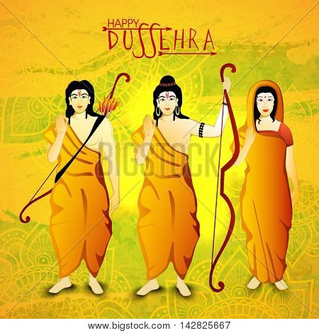 God Rama, Laxman and Goddess Sita giving blessings, Beautiful festival background with floral design decoration for Happy Dussehra celebration.