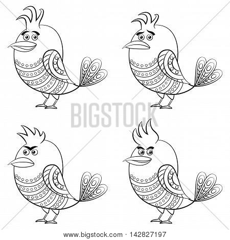 Set of Funny Birds of Different Moods, Sad, Angry, Cheerful and Insidious, Cute Patterned Cartoon Character, Black Contour Isolated on White Background. Vector