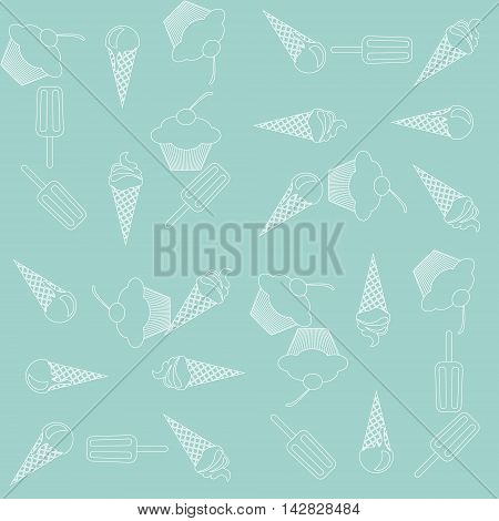 Vector seamless icecream and cupcake pattern in delicate tender turquoise green and white colors. Vintage design for wrapping textile background website