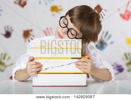 Boy Of Seven Years Old With Books. Back To School