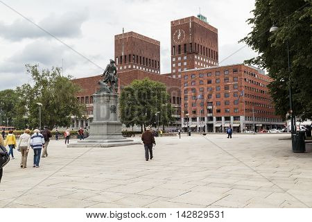 OSLO, NORWAY - JULY 1, 2016: This is Oslo City Hall and City Hall Square.