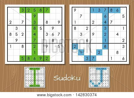 Sudoku vector set with answers. I, J letters