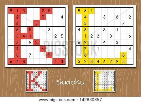 Sudoku vector set with answers. K, L letters