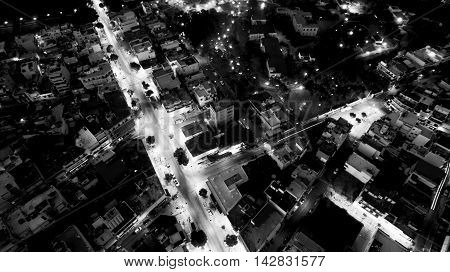 aerial athens black and white from above greece
