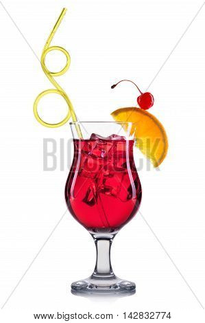Red cocktail in old fashioned cocktail glass isolated on white background.