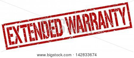 extended warranty stamp. red grunge square isolated sign poster