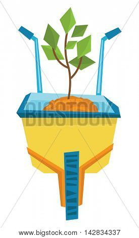 Wheelbarrow with sand and sprout vector flat design illustration isolated on white background.