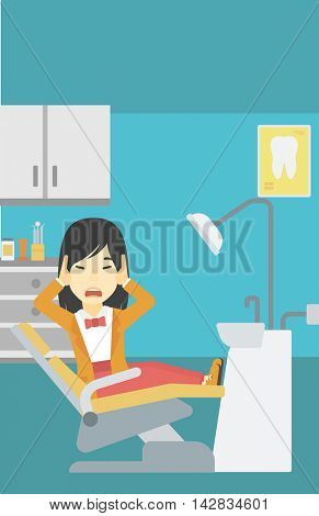 An asian young frightened patient at dentist office. Scared young woman in dental clinic. Afraid woman sitting in dental chair. Vector flat design illustration. Vertical layout.