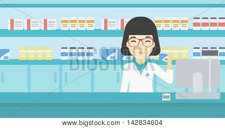 An asian young pharmacist standing at the counter and showing some medicine. Female pharmacist holding a box of pills in the pharmacy. Vector flat design illustration. Horizontal layout.