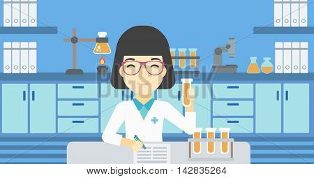 An asian female laboratory assistant taking some notes. Laboratory assistant working with a test tube at the lab. Vector flat design illustration. Horizontal layout.