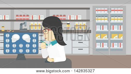 An asian female doctor looking at magnetic resonance images of the brain on a computer screen. Doctor analyzing MRI scan at the medical office. Vector flat design illustration. Horizontal layout.
