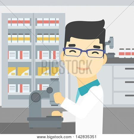 An asian male laboratory assistant working with microscope at the laboratory. Young scientist using a microscope in a laboratory. Vector flat design illustration. Square layout.
