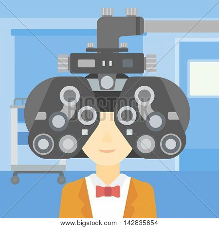 Woman during an eye examination. Woman visiting optometrist at the medical office. Woman undergoing medical examination at the oculist. Vector flat design illustration. Square layout.