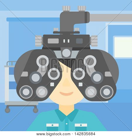 Man during an eye examination. Man visiting optometrist at the medical office. Man undergoing medical examination at the oculist. Vector flat design illustration. Square layout.