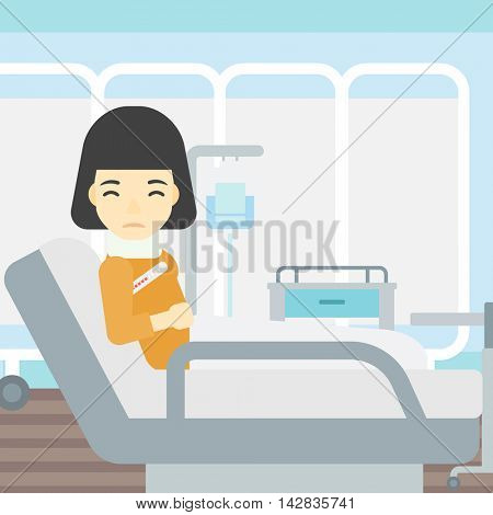 An asian woman suffering from neck pain. Young woman with injured neck lying in bed in hospital ward. Woman with neck brace. Vector flat design illustration. Square layout.
