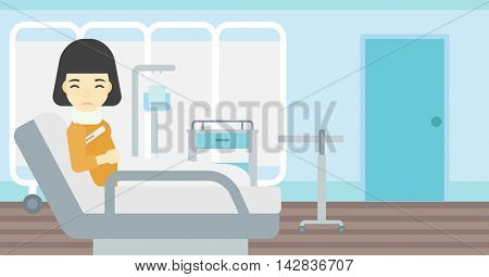 An asian woman suffering from neck pain. Young woman with injured neck lying in bed in hospital ward. Woman with neck brace. Vector flat design illustration. Horizontal layout.