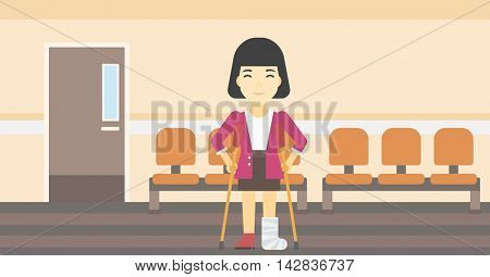 An asian injured woman with leg in plaster. Woman with broken using crutches. Woman with fractured leg in the hospital corridor. Vector flat design illustration. Horizontal layout.