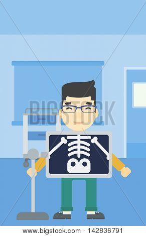 An asian patient during chest x ray procedure in examination room. Young man with x ray screen showing his skeleton at doctor office. Vector flat design illustration. Vertical layout.