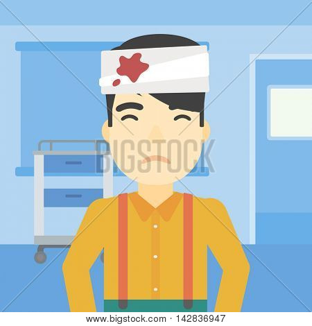 An asian man with bandages over his head. Sad man with a bandaged head in the medical office. Young wounded man in the hospital. Vector flat design illustration. Square layout.