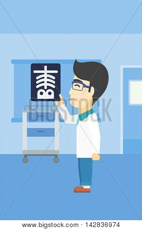 An asian doctor examining a radiograph. Doctor looking at a chest radiograph in the medical office. Doctor observing a skeleton radiograph. Vector flat design illustration. Vertical layout.