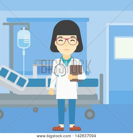 An asian friendly doctor holding a file in hospital ward . Smiling female doctor with stetoscope carrying folder of patient or medical information. Vector flat design illustration. Square layout.