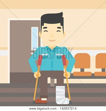 An asian injured man with leg in plaster. Man with broken using crutches. Man with fractured leg in the hospital corridor. Vector flat design illustration. Square layout.