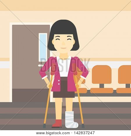 An asian injured woman with leg in plaster. Woman with broken using crutches. Woman with fractured leg in the hospital corridor. Vector flat design illustration. Square layout.