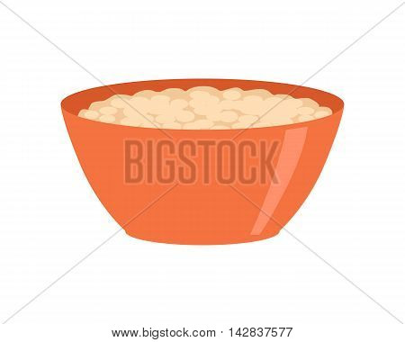 Bowl with porridge isolated on white. Healthy food concept. Organic natural food. Consumption of high quality nourishment. Part of series of promotion healthy diet and good fit. Vector illustration