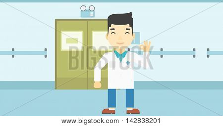 An asian doctor in medical gown showing ok sign in the hospital corridor. Vector flat design illustration. Horizontal layout.