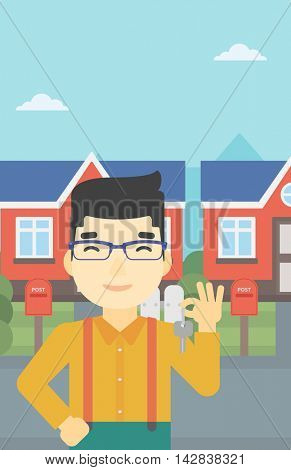 An asian young male real estate agent holding key. Man with keys standing in front of the house. Happy new owner of a house. Vector flat design illustration. Vertical layout.