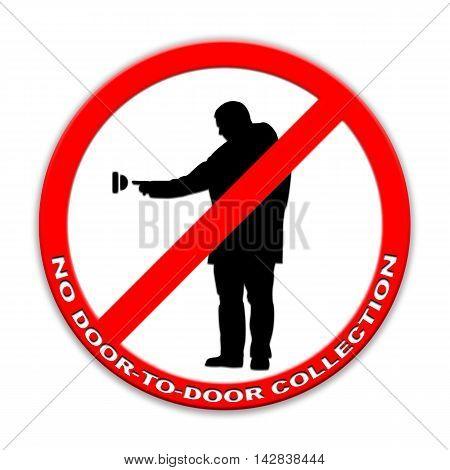 Do not ring doorbell sign door-to-door charity collectors  isolated on white English