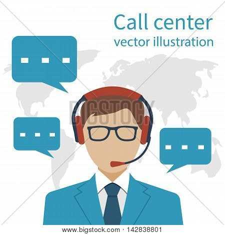 Operator call center on background of the world map. Communicable consultant with headset customer service. Vector illustration flat style design.