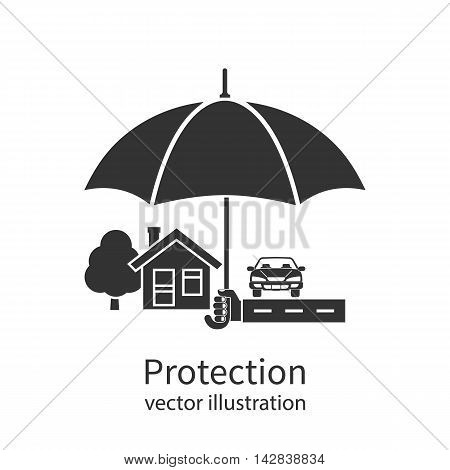 Concept of security of property flat design. Agent holding umbrella over house. Insurance home car money. Vector illustration.