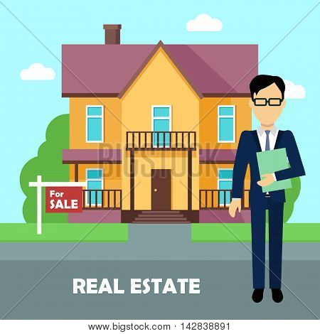 Real estate broker at work. Real estate agent, house building, property home, realtor and rent, sale housing, buy apartment. Part of series of modern buildings in flat design style. Vector poster
