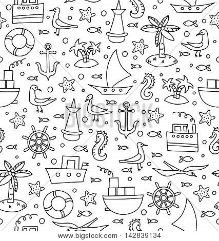 Vector seamless pattern with sea weekends elements a white background. Seamless pattern for wrapping, textile.
