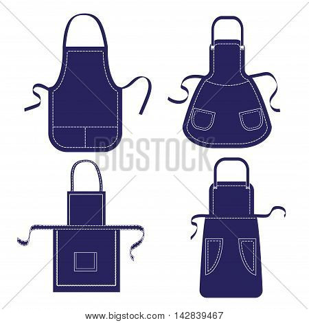 Set of blue aprons isolated on white. Vector collection aprons templates with pockets, shoulder straps and belts.