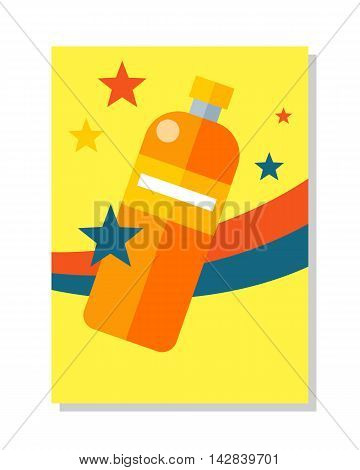 Bottle icon symball. Colorful plastic bottle with label. Bottle of juice, mineral water. Retail store element. For advertisements, banners, posters. Bottle of juice. Isolated vector illustration
